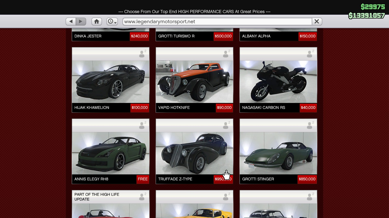 gta 5 online store cars