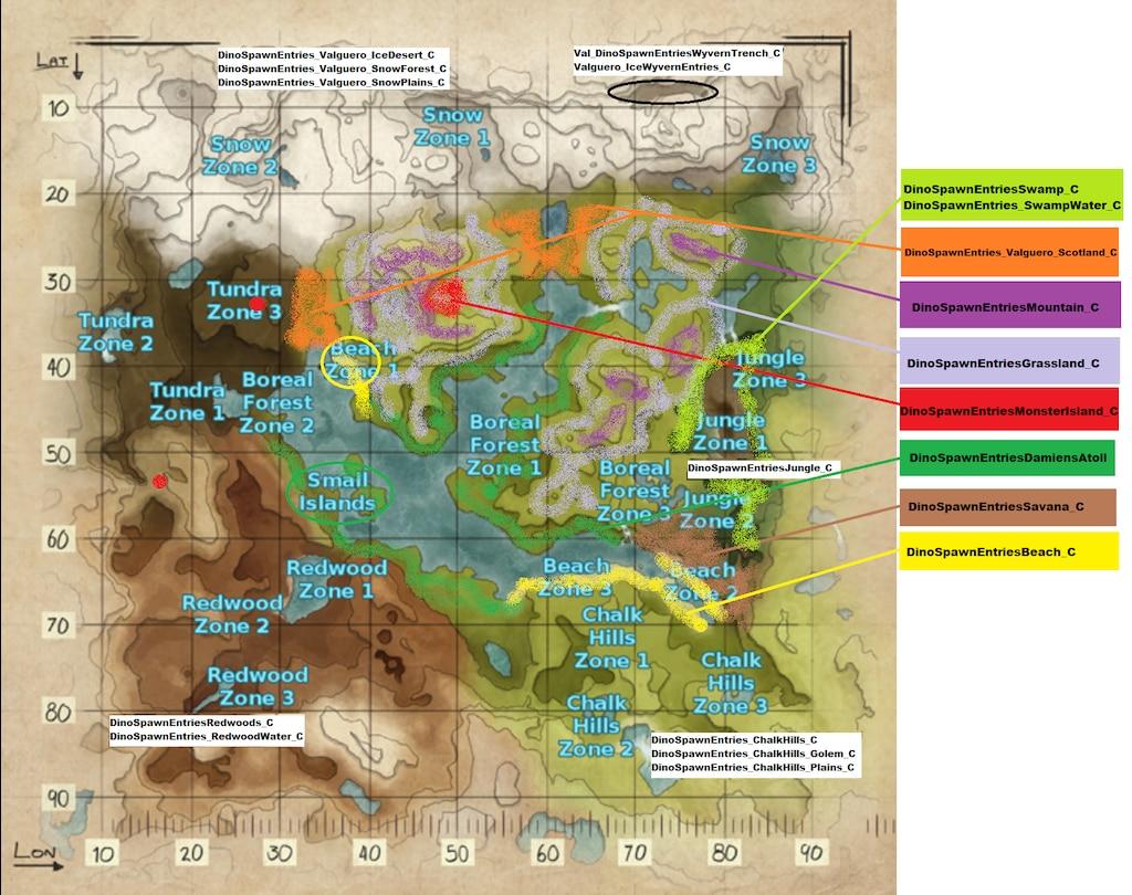 Ark valguero spawn map