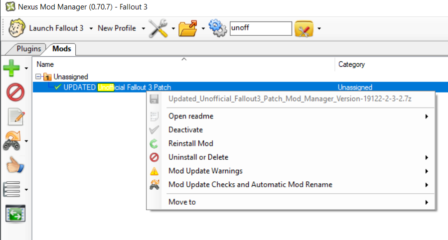 Uninstall Fallout 3 Unofficial Patch