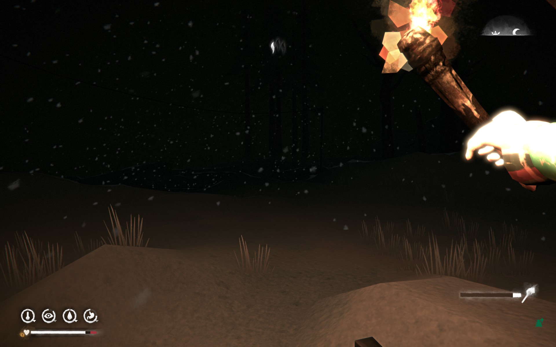 Point of view shot from the computer game The Long Dark. The character holds a torch in their right hand. It's night, and snowing.
