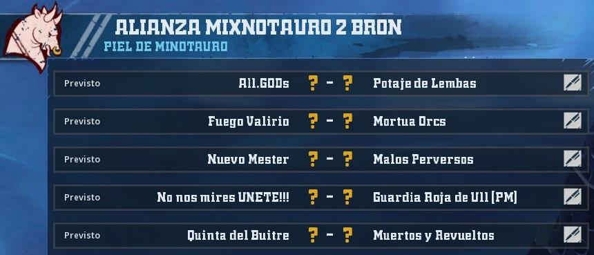 Liga Alianza Mixnotauro 2 - División Cuerno de Bronce / Jornada 5 - hasta el domingo 30 de junio 1451CEFFE42E3A0FB21958D947FD68FDD70EE75A