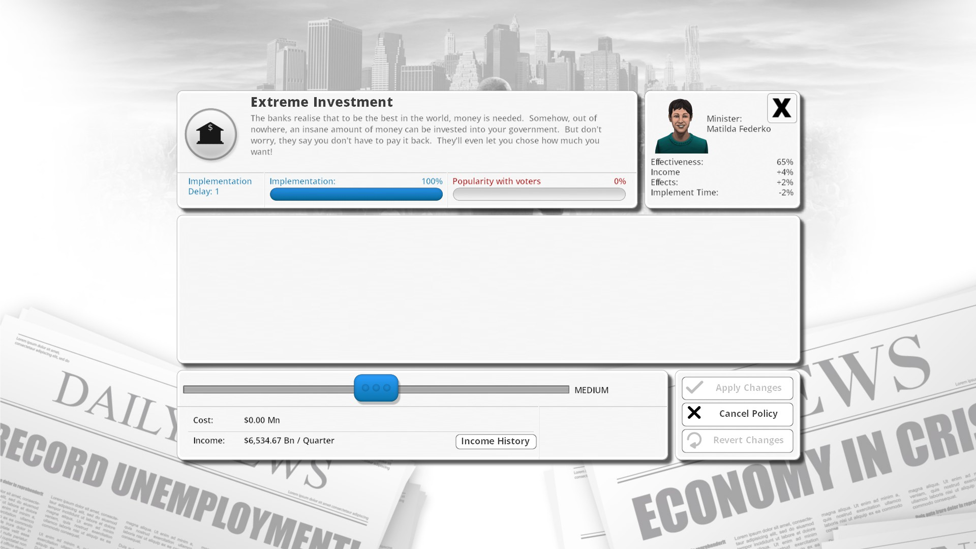 democracy 3 extreme investment module