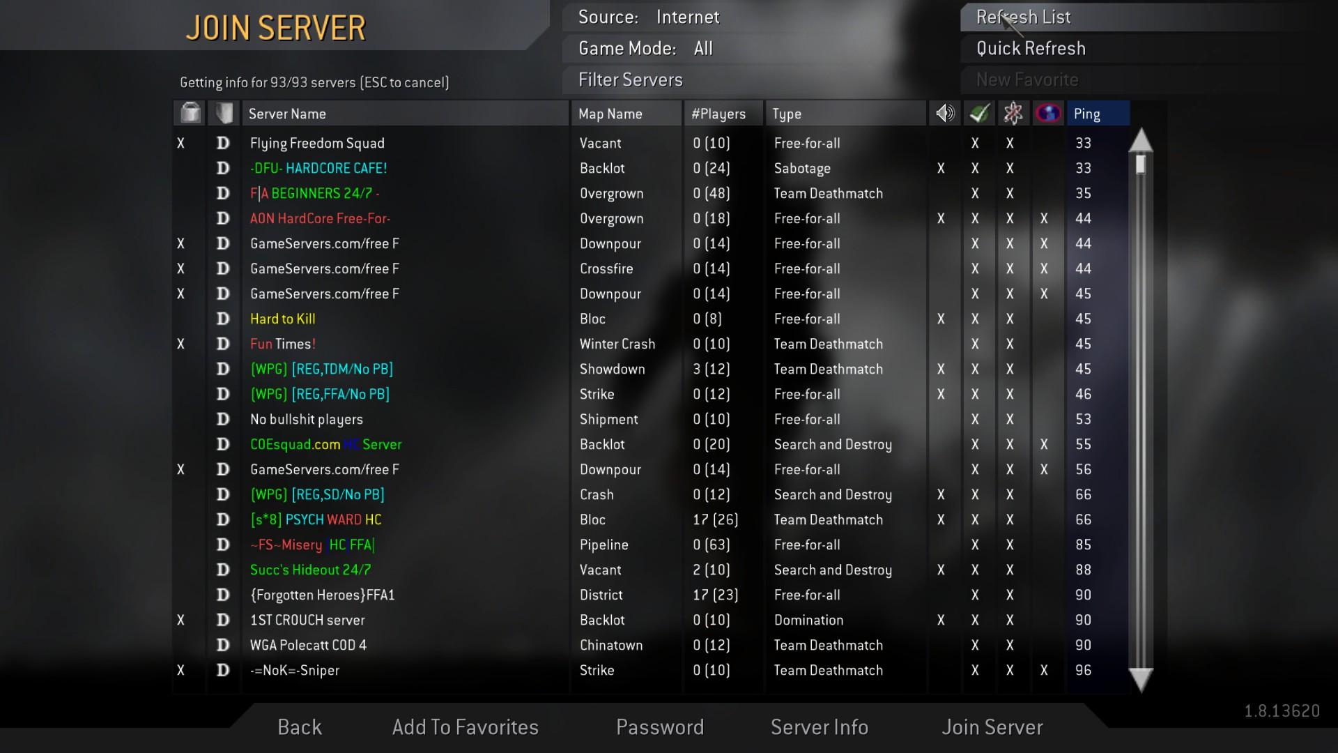 Cod4 server map list