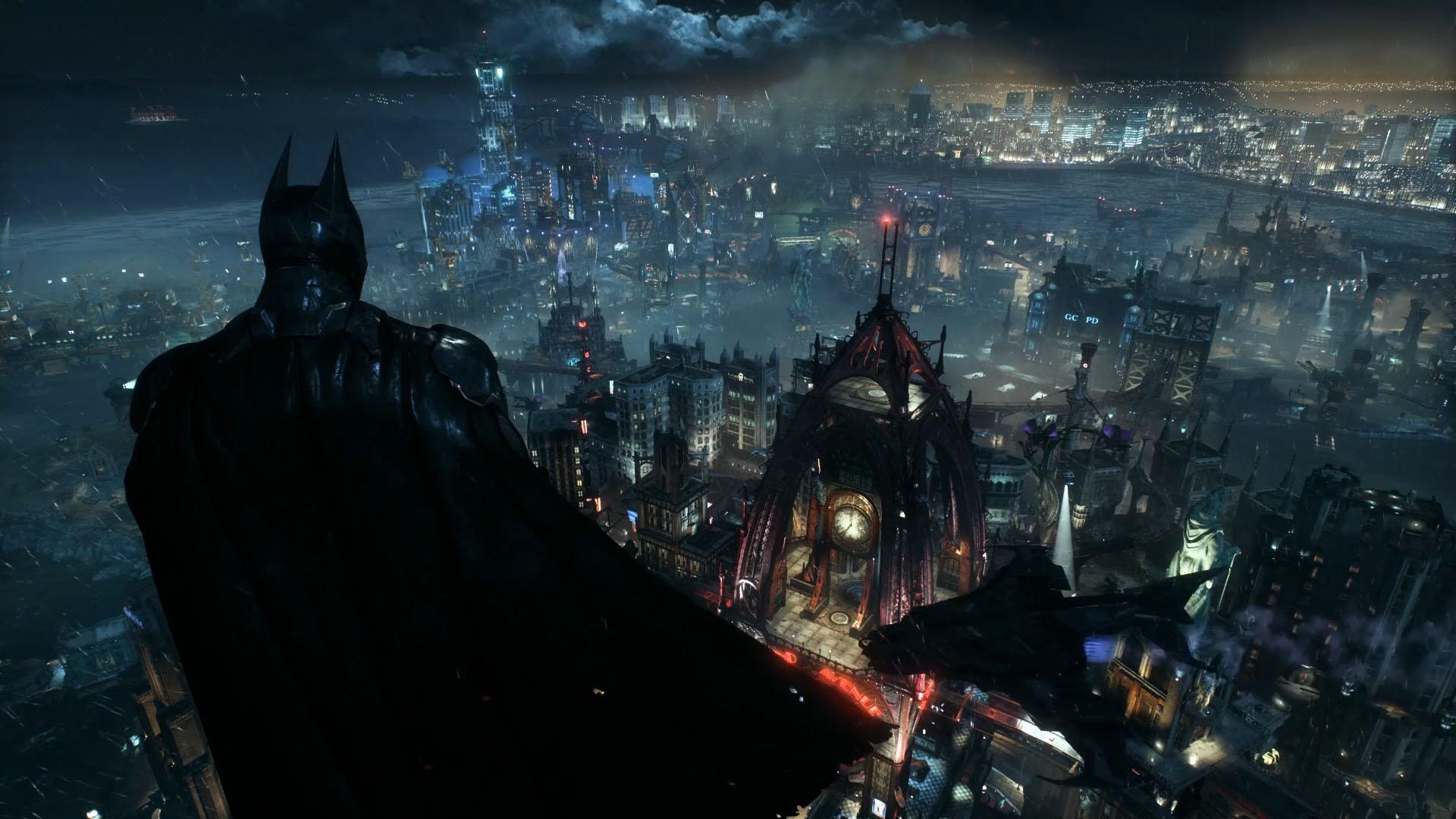 Wallpaper Engine - (Short) Batman Arkham Knight - Batman Overlooking Gotham from Wayne Tower
