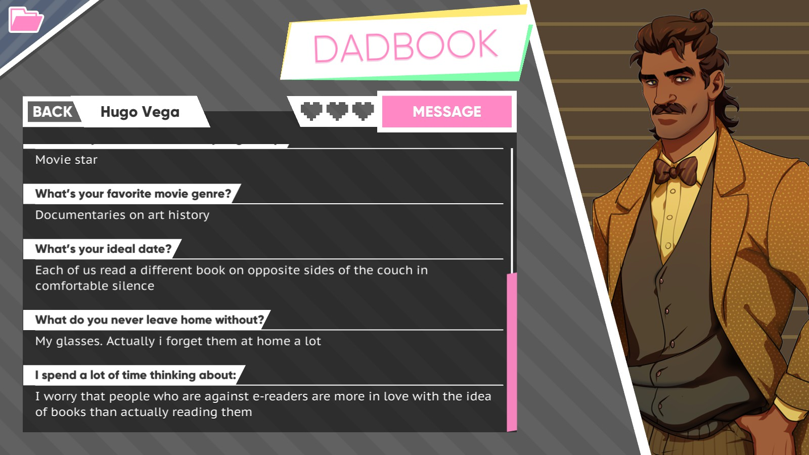 Dream Daddy Hugo DadBook Profile
