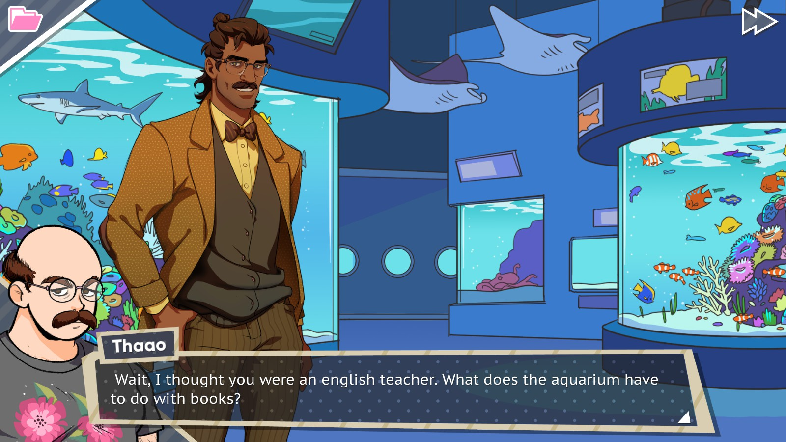 Dream Daddy Hugo Aquarium Date BAD GRAMMAR