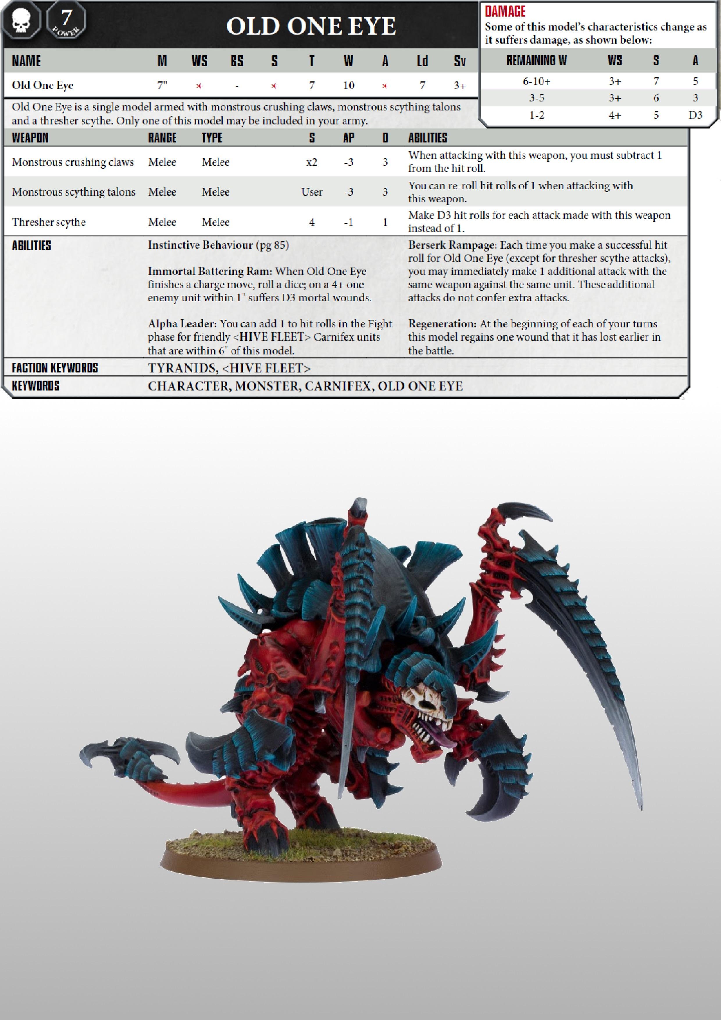 Warhammer 40k Tyranids Datacards