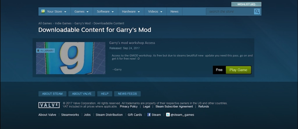 is gmod free on steam