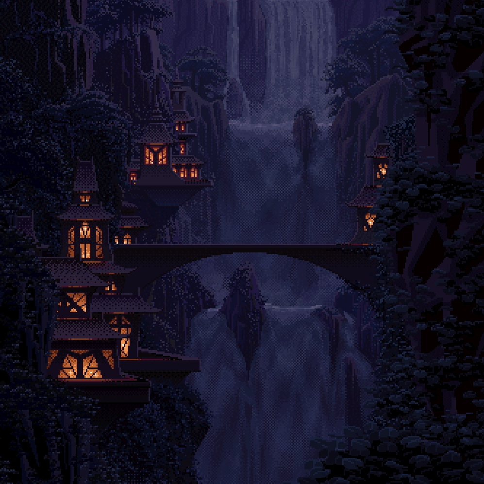 Wallpaper Engine - Elvish Falls (Night) by Mark Ferrari