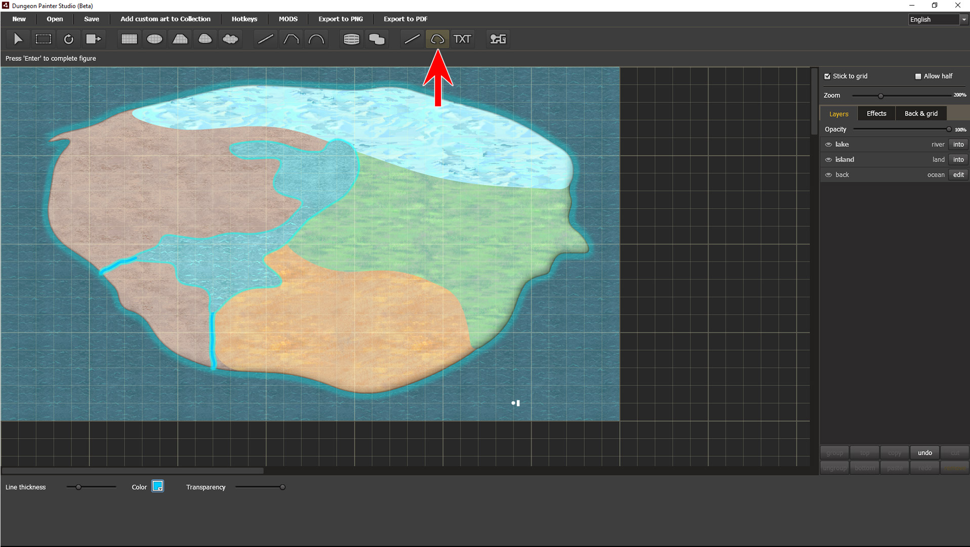Draw the river using the spline tool