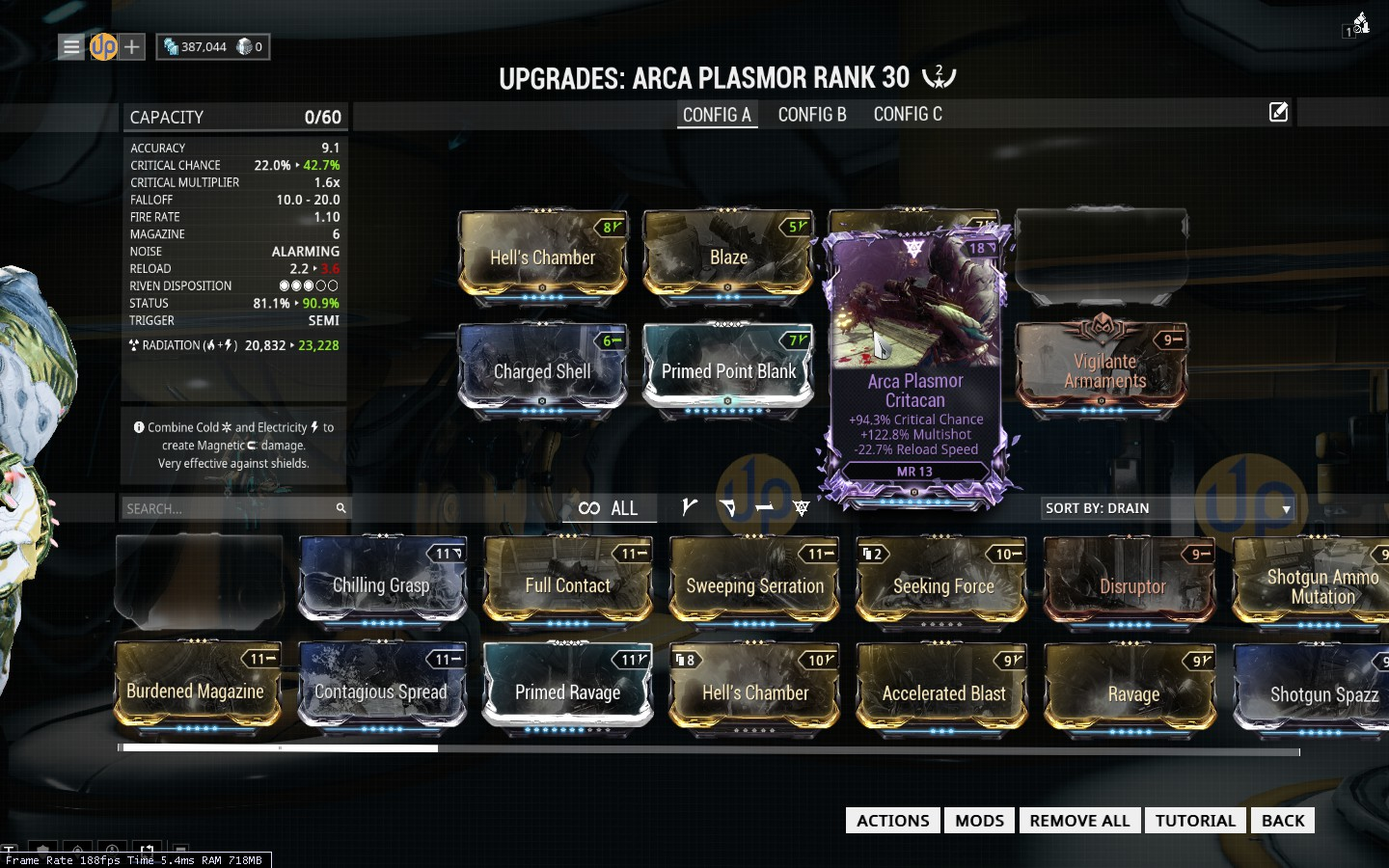 PC] [PRC] Arca Plasmor +94.3% Critical Chance +122.8% Mulishot -22.7 ...