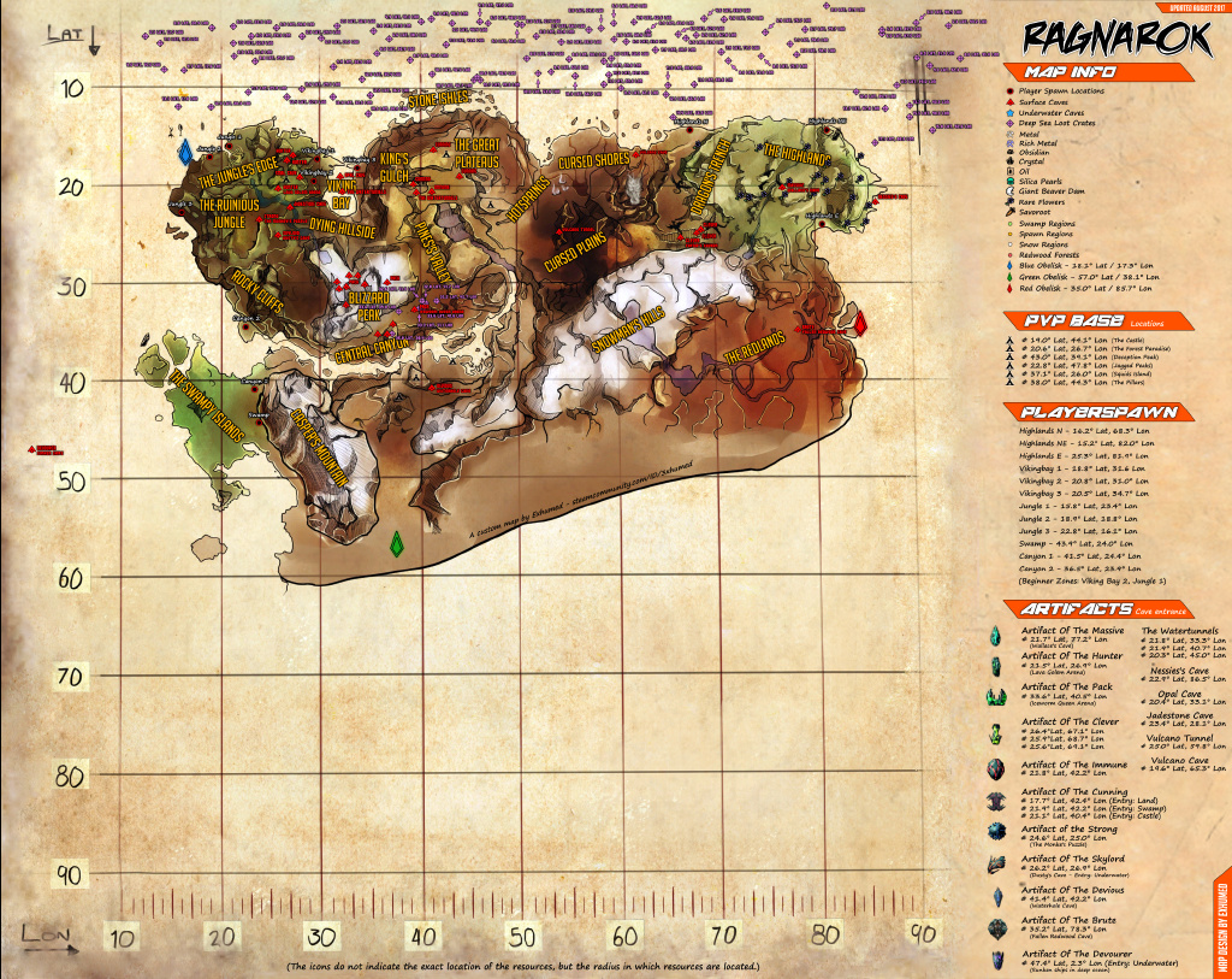 Ark Ragnarok öl Karte.Survival Ark Ragnarok Resource Map Ark The Island Map By Exhumed By