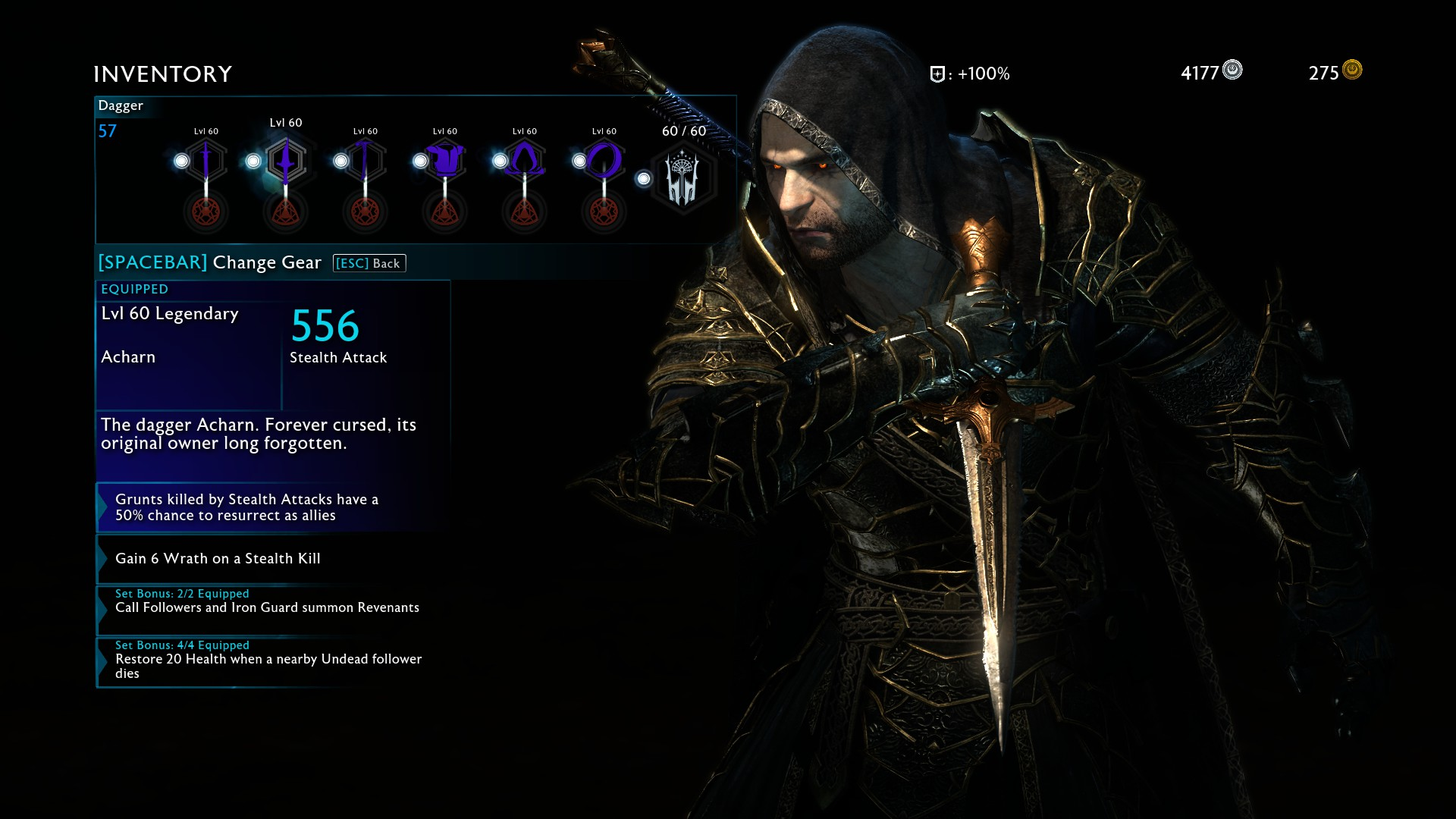 shadow of war legendary items level