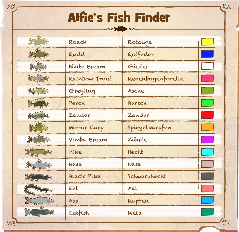 Steam community guide fish finder colour charts for The fishing club 3d