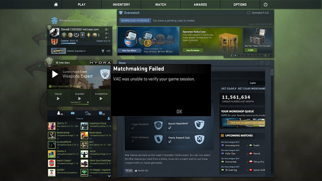 vac is unable to verify game session