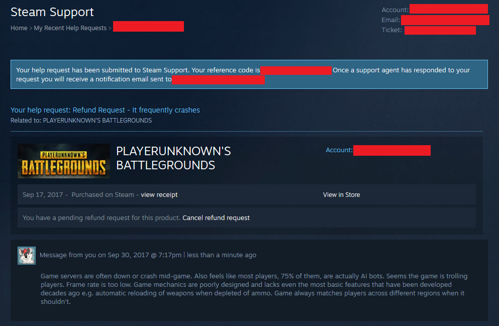 Steam Community :: :: PUBG refund request