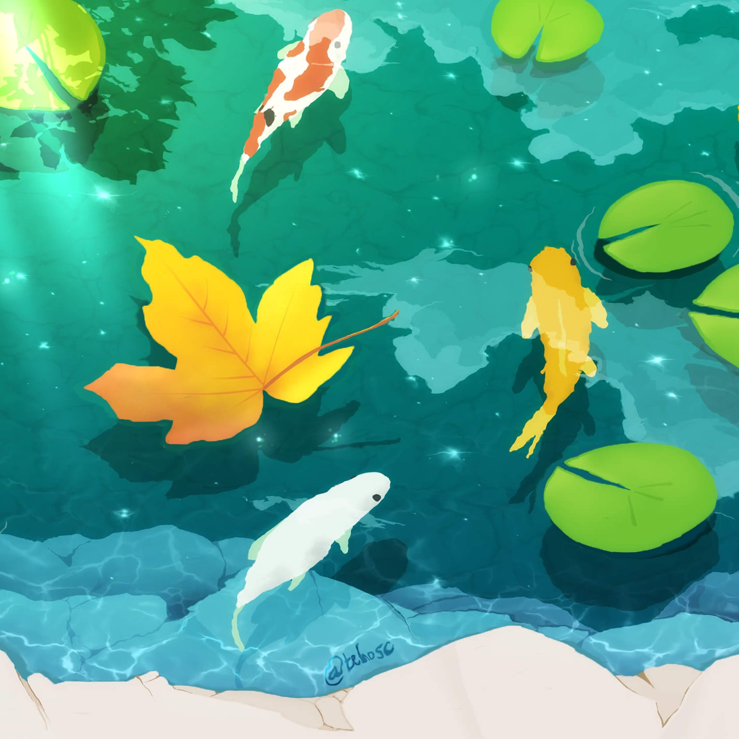 Wallpaper Engine - Koi Pond under Moonlight (2K)