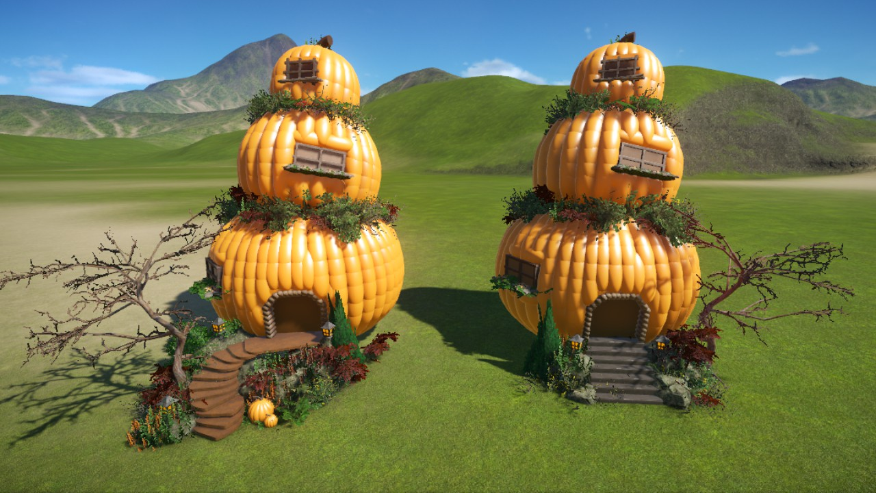 Spooky Crazy crooked pumpkin houses