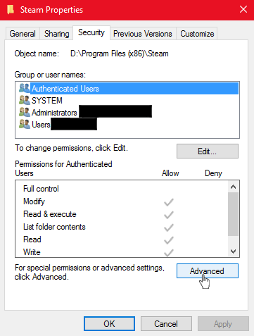 Steam Community :: Guide :: How To Fix Folder Permission Settings
