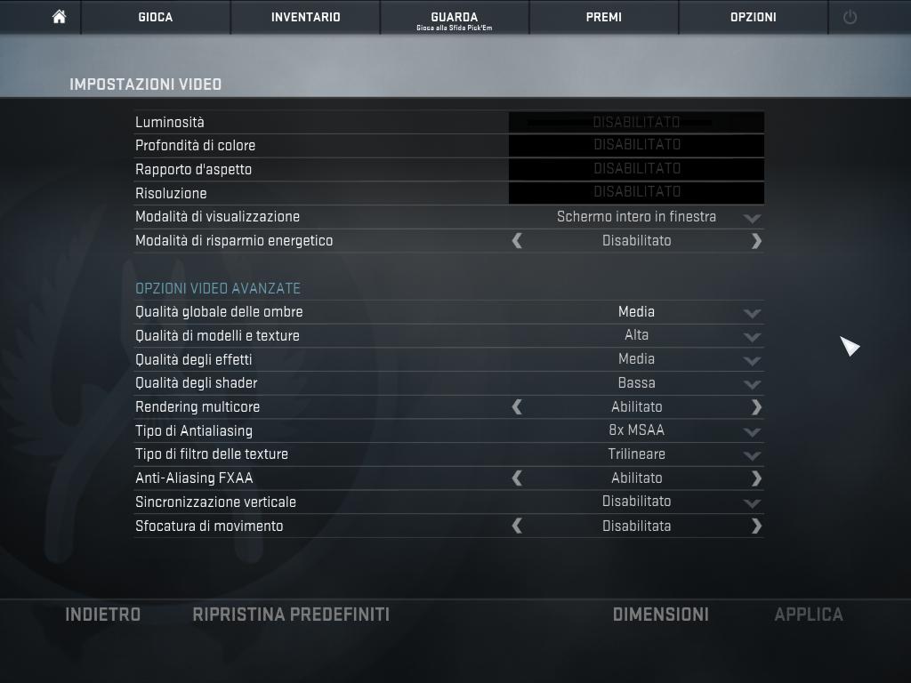 Guida a Counter Strike GO: Impostazioni Grafiche in-game e lista mappe.