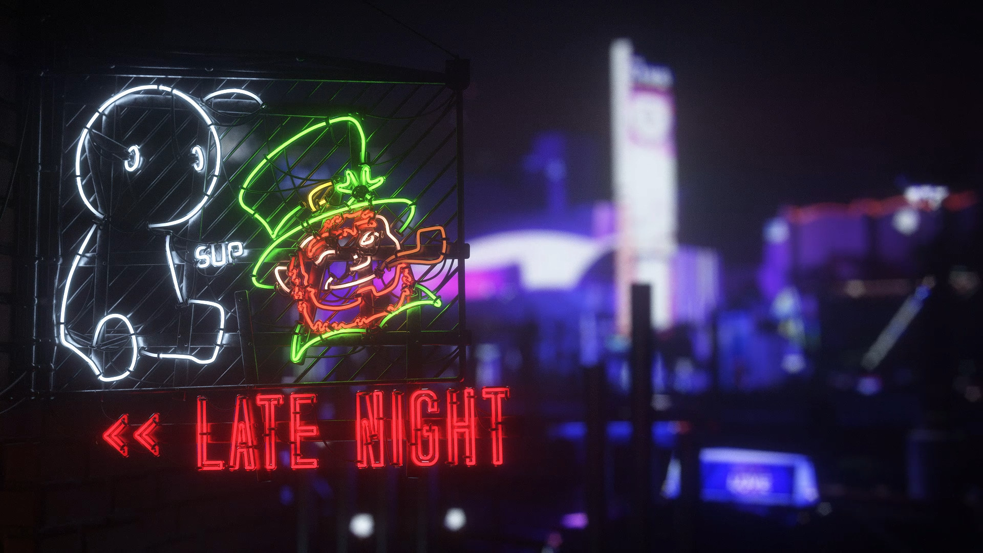 Late Night With Neon Idle Animation Wallpaper Engine