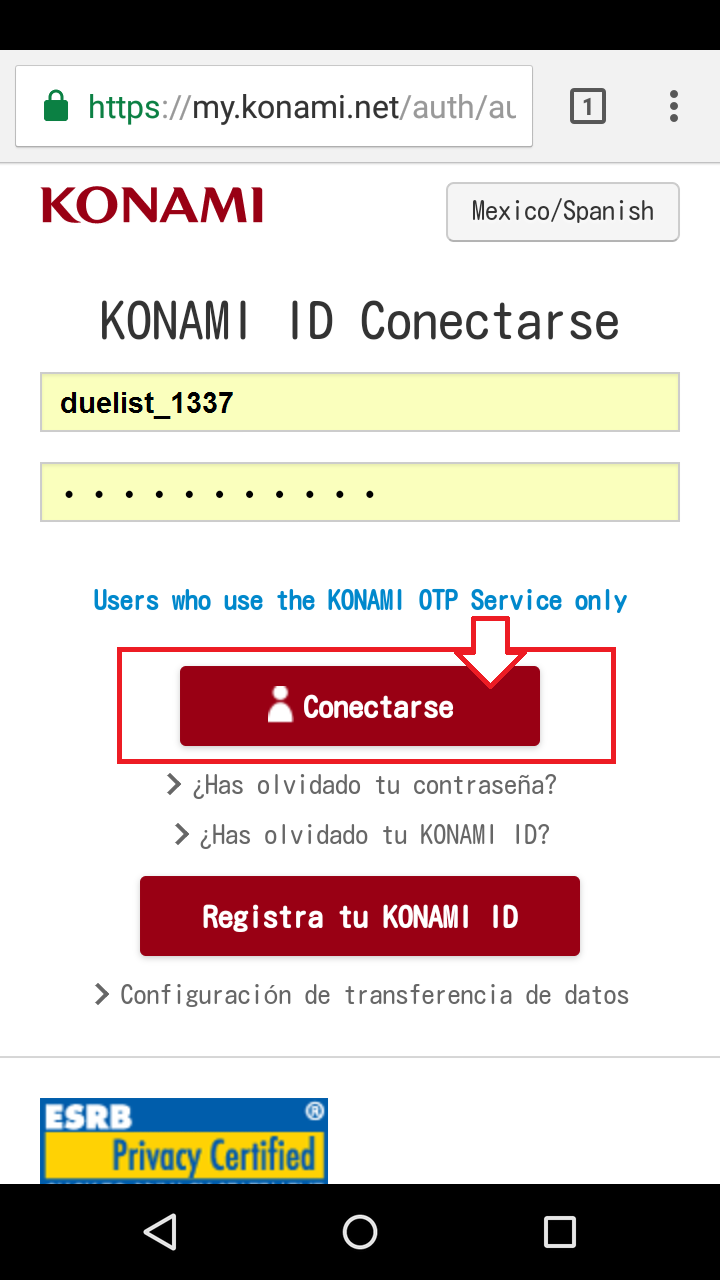 konami account