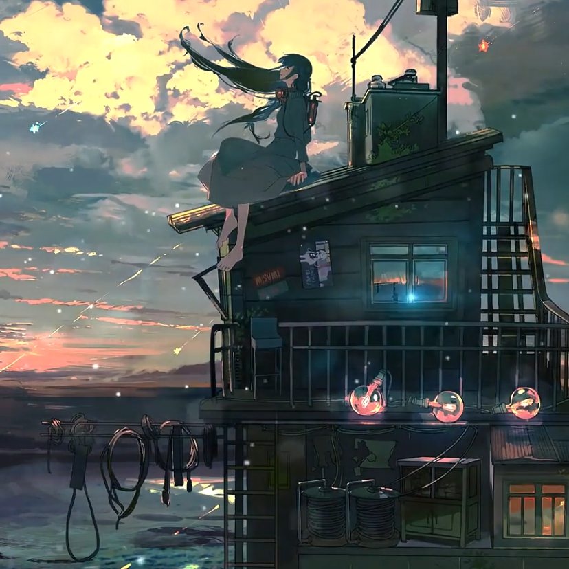 Rooftop Anime Chill Live Wallpaper