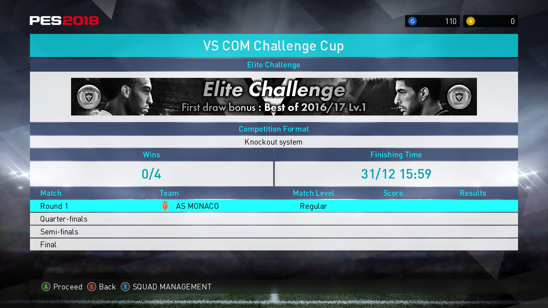 """We want to play against Monaco on Regular so we start the Silver """"Elite challenge"""""""