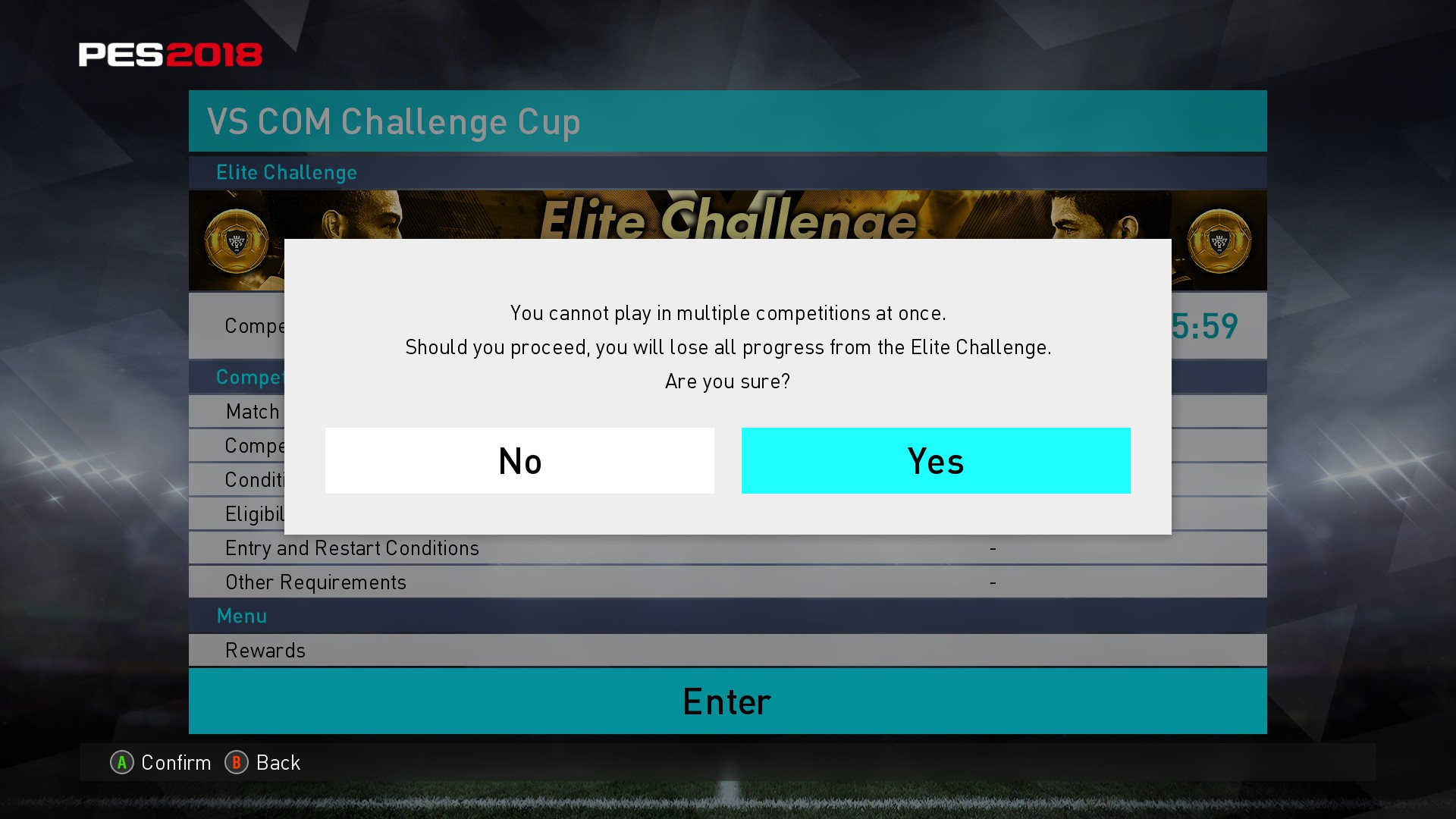 """Now the game says you already started the silver """"Elite challenge"""" but you want to start again so you say yes to the question and lose all progress"""