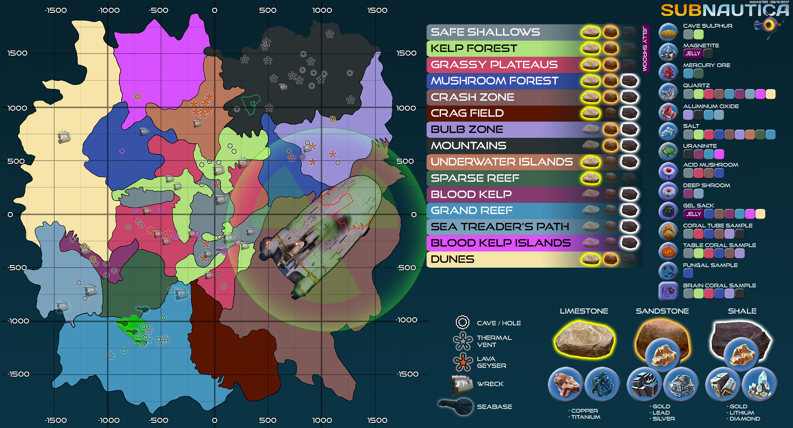 Subnautica Karte.Steam Community Guide Ingame Map With Resource Sheet
