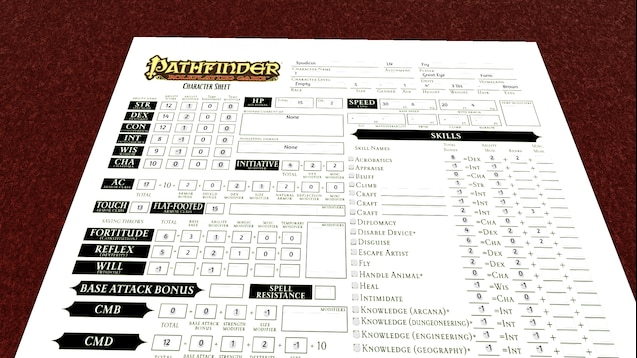 Steam Workshop :: Pearl's Pathfinder Sheet