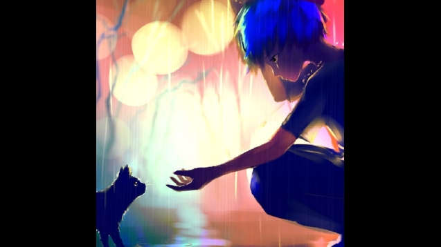 Steam Workshop Rain Boy With Blue Hair And Cat Relaxing Anime