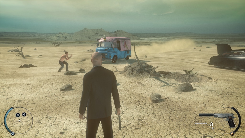 Agent 47 watching ice cream truck in desert about to run over an NPC
