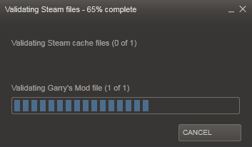 Validating steam cache files fix