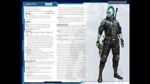 starfinder society character sheet