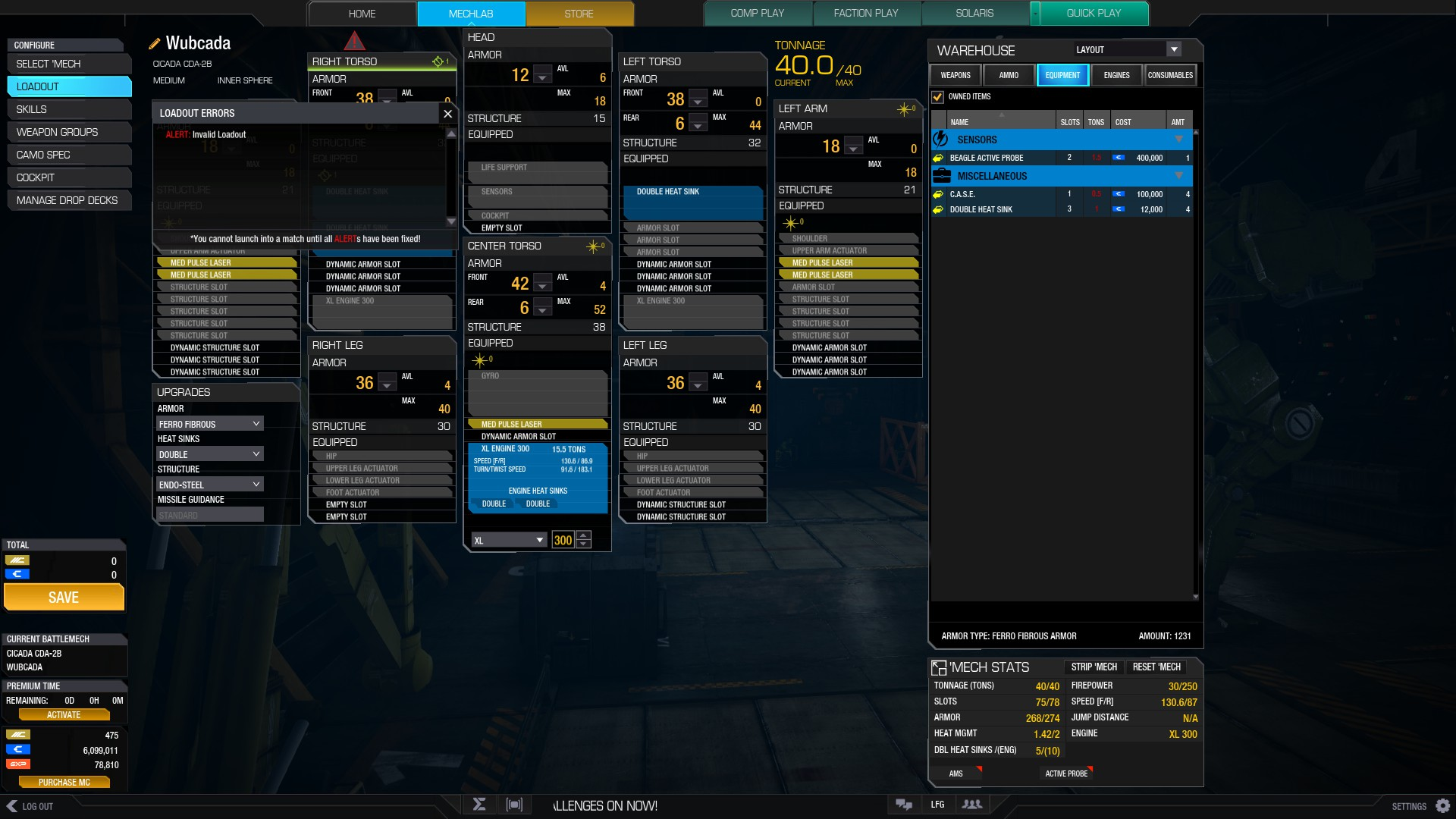 This loadout is somehow invalid  Can't figure out why  : OutreachHPG