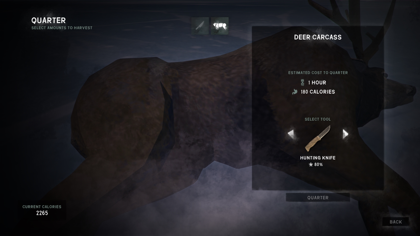 As you can see the quartering only takes about half the time of dismantling. This gain in time shrinks almost to parity as your skill increases. & Steam Community :: Guide :: The Long Dark - Survival Guide