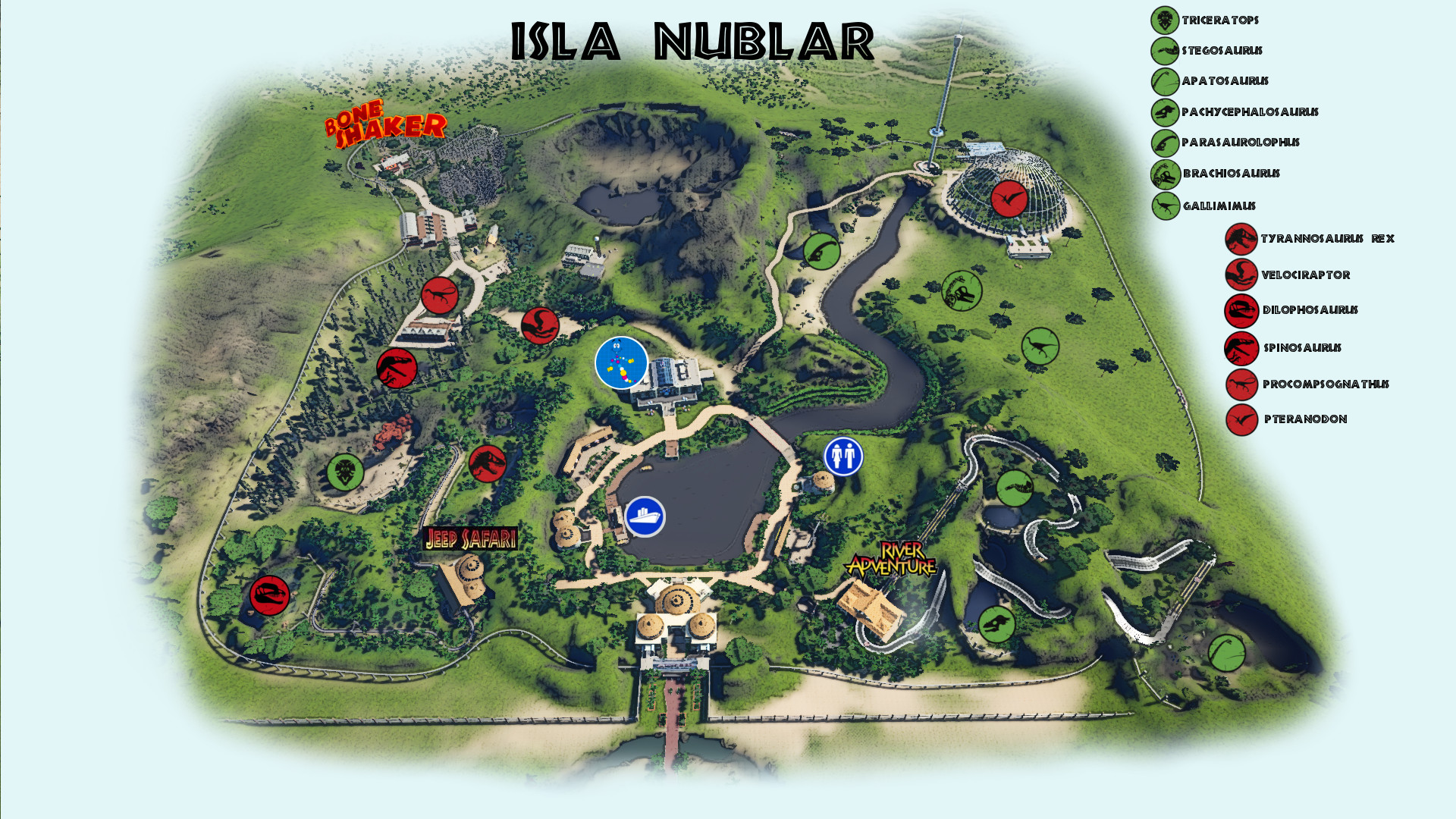 Isla sorna map size jurassicworldevo here is my jurassic park recreation in planet coaster for reference there is even more buildable space off screen the maps are huge gumiabroncs Images