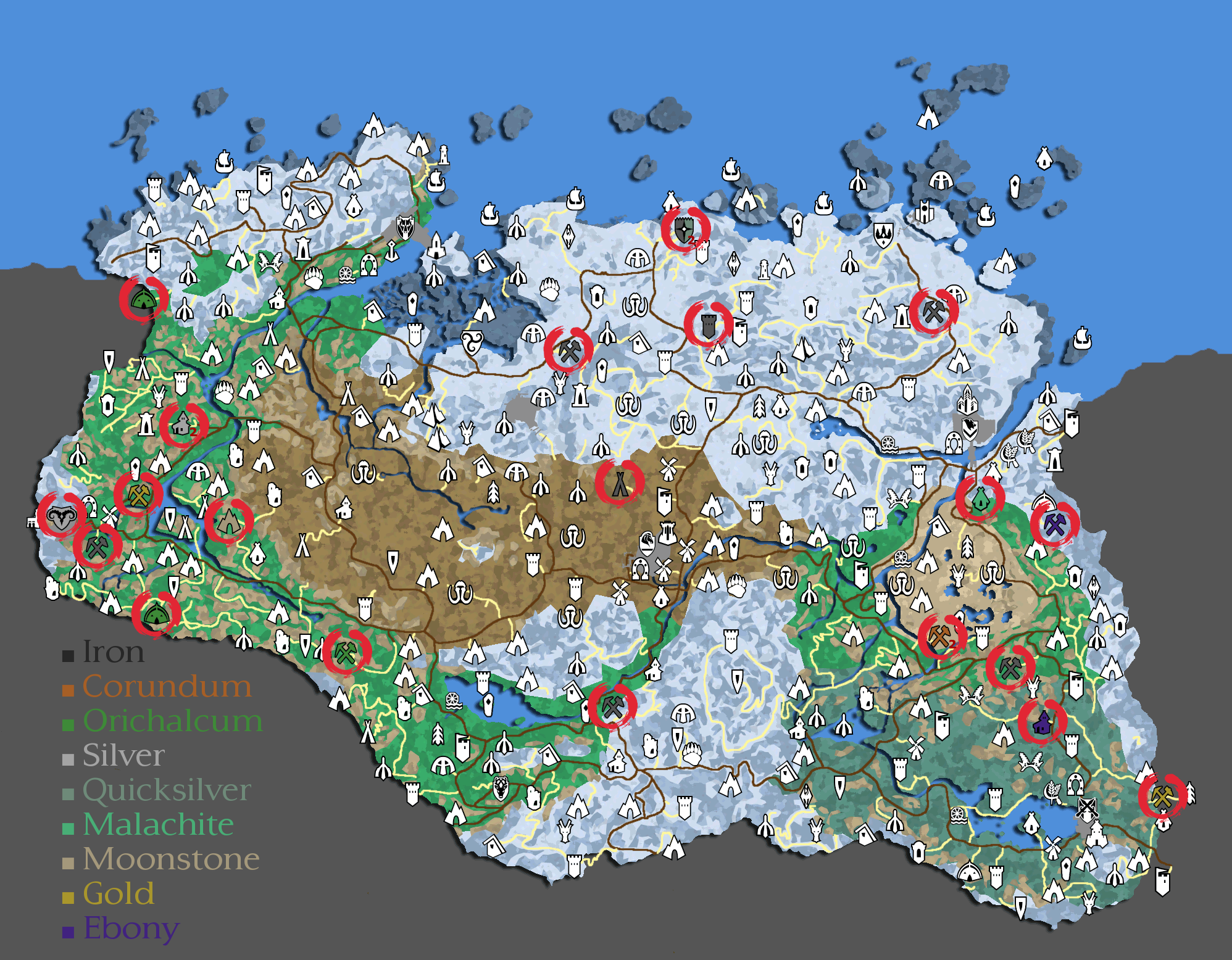 Map Of Skyrim Mines Steam Community :: Guide :: All Mines Locations