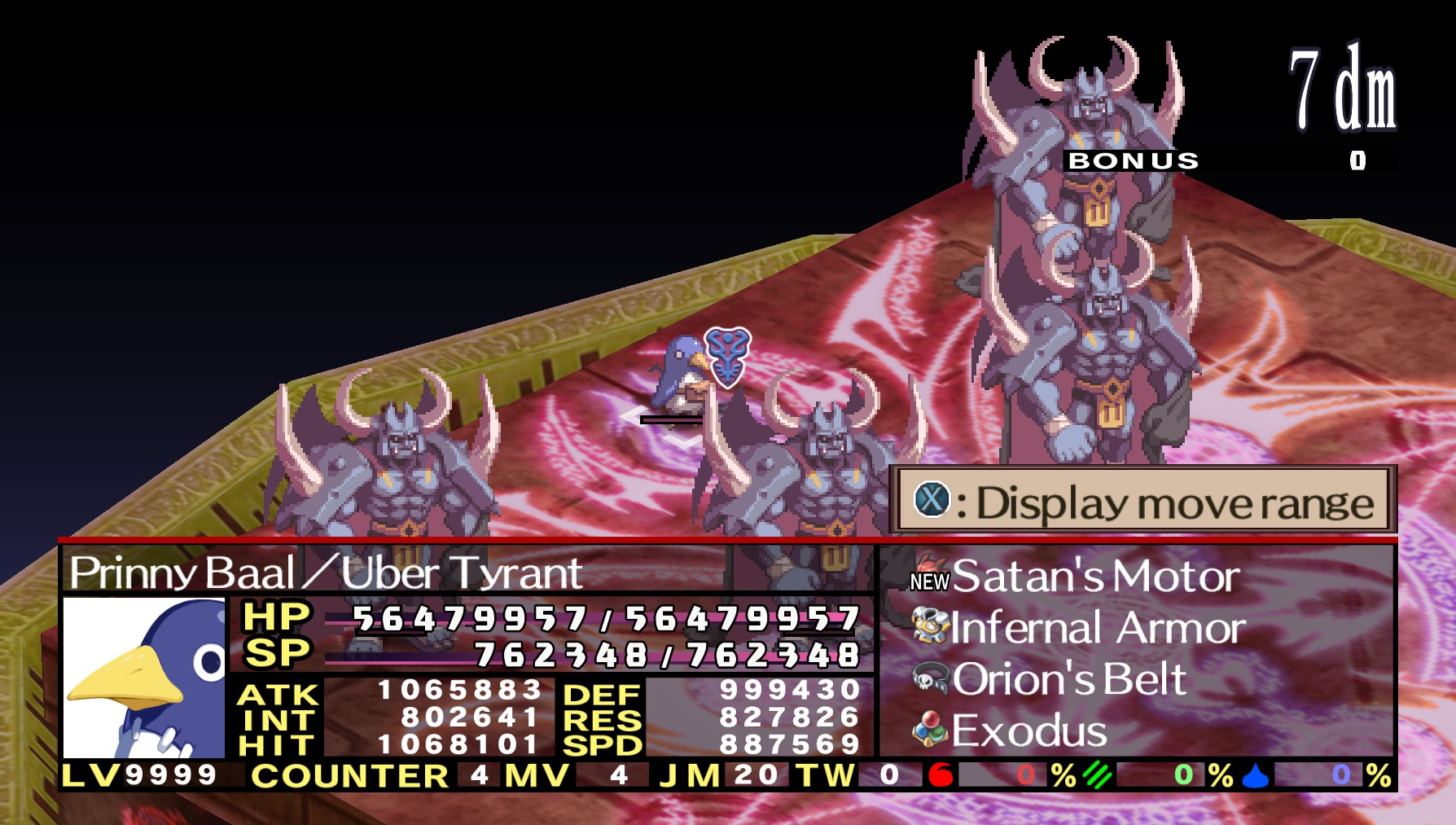 If you're really want a challenge, you can try your luck against UBER  Prinny Baal in the Land of Carnage!