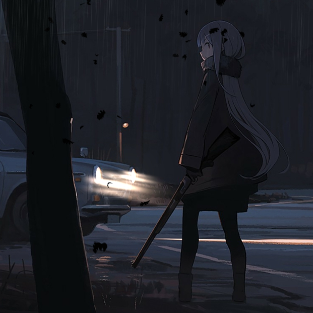 Alone in Apocalypse [Anime Girl, Night, Car]