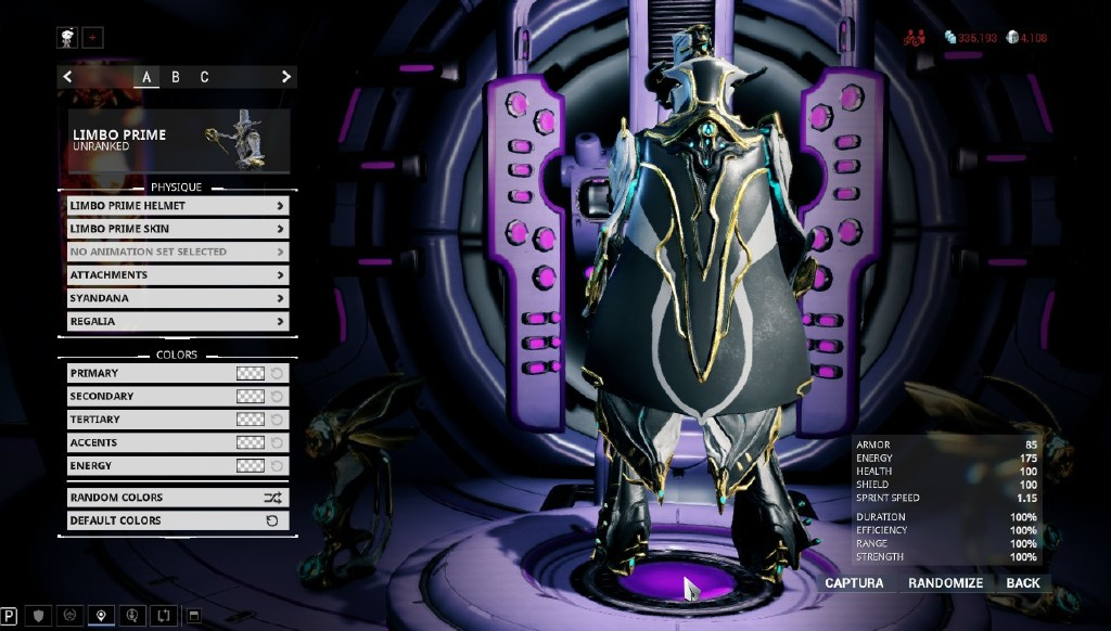 Limbo Prime Syandana Problem - Art, Animation, & UI