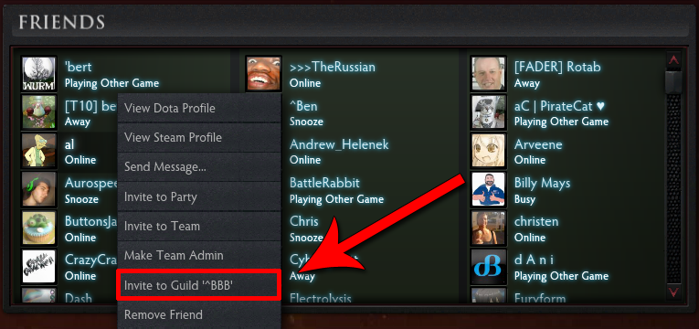 Once Youve Clicked On Their Name Click The Invite To Guild Option In My Example It Displays BBB As Is What I Chose For