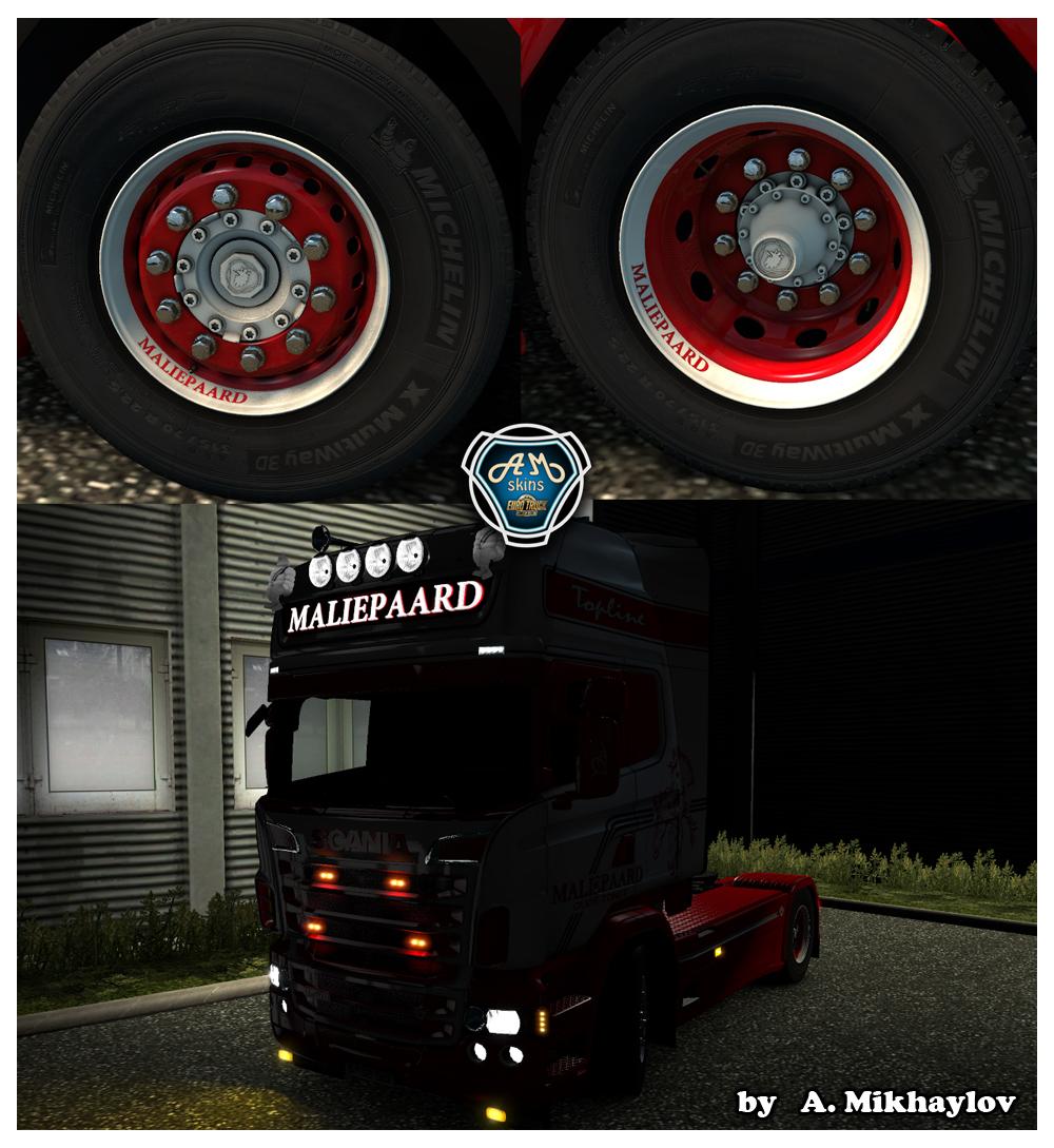 "SCANIA ""MALIEPAARD"" skin + Lightbox + Wheels"