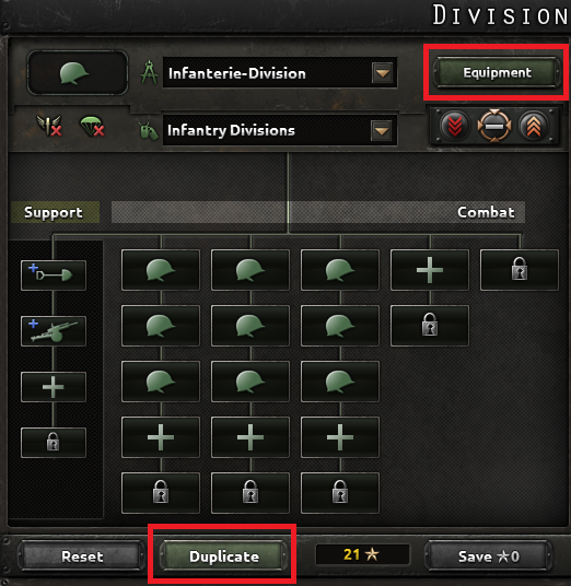 Prevent your current infantry divisions wasting (via training) support equipment by changing their equipment options same way before.