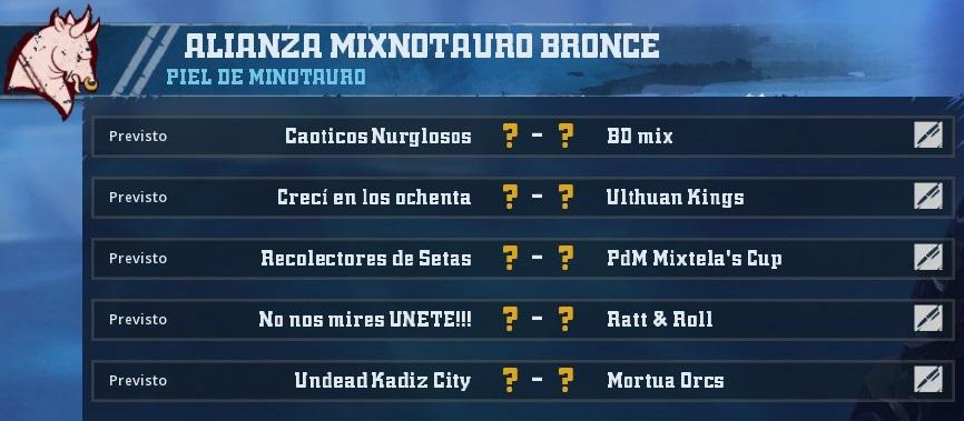 Liga Alianza Mixnotauro 1 - División CUERNO DE BRONCE / Jornada 2  - hasta el domingo 24 de febrero 5966F2B64A1FFE93786BD0FBF5884D4E9A782148