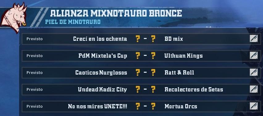 Liga Alianza Mixnotauro 1 - División CUERNO DE BRONCE / Jornada 3  - hasta el domingo 10 de marzo D37CCE4AB450698E7955298747690C5FF052E071
