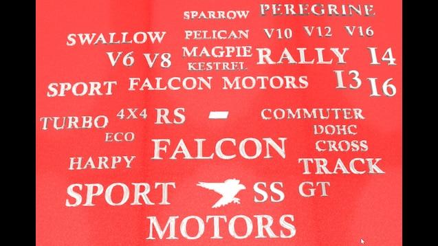 Falcon Motors Badges and Text