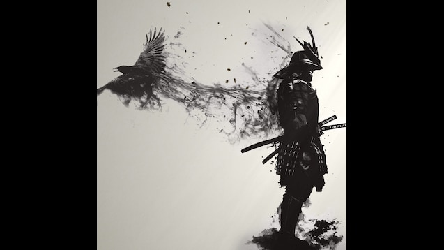 Epic samurai with crow 4k wallpaper
