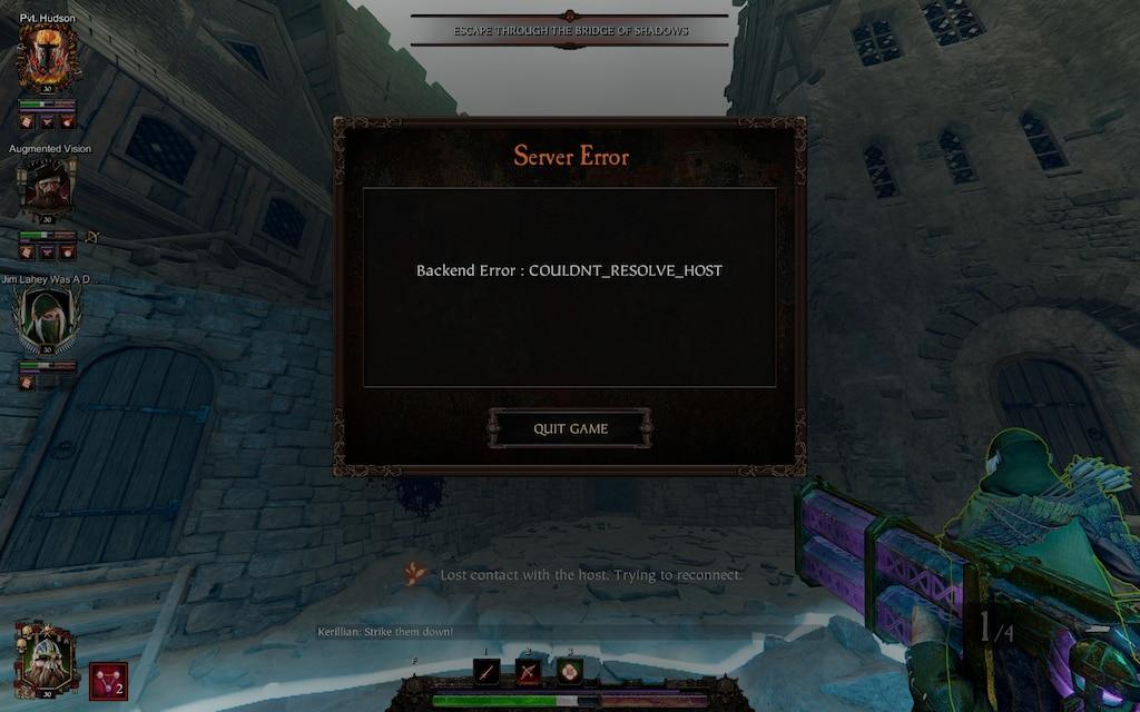 Vermintide Server Error